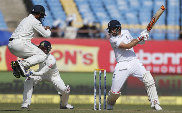 England's batsman Joe Root bats during the first day of the first test cricket match between India and England in Rajkot, India, Wednesday, Nov. 9, 2016. (AP Photo/Rafiq Maqbool)